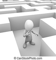 3d Little person lost in the maze