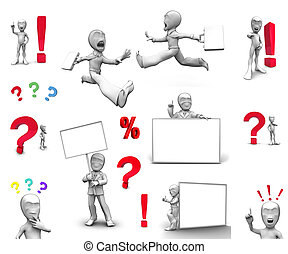 3d little person with blank board
