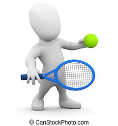 3d Little tennis player