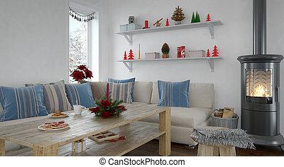 3d, -, livingroom, -, natale