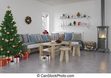 3d, -, livingroom, -, noël