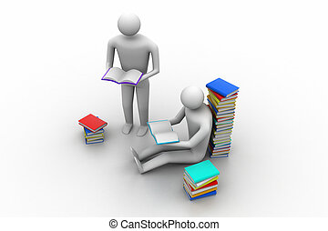 3d, livro leitura, educação, pessoas