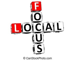 3D Local Focus Crossword on white background
