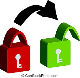 3D lock on white background