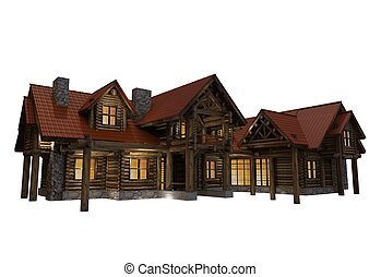 3D Log Home Illustration Isolated on White Background. Large...