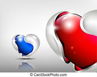 3d logo glossy hearts