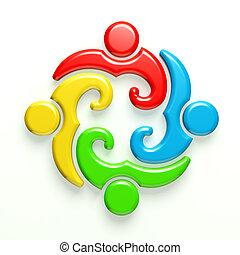 3D Logo people meeting 4