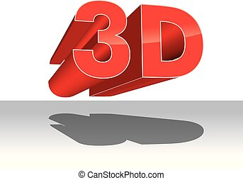 3d logo vector three-dimensional television new red icon...