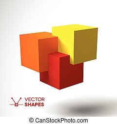 3D logo with bright colored cubes. Red, orange and yellow