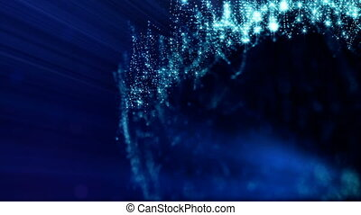 3d loop abstract animation of glow particles with depth of field, bokeh and light rays for abstract background or vj loop like microcosm or space. Seamless BG with beautiful light effects. V 6 blue