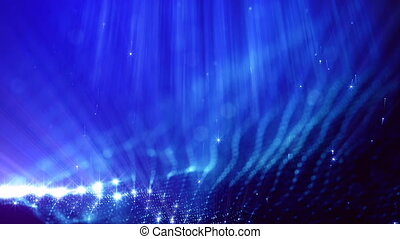 3d loop abstract animation of glow particles with depth of field, bokeh and light rays for abstract background or vj loop like microcosm or space. Seamless BG with beautiful light effects. V 10 blue