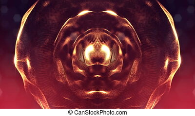 3d loop animation as digital science fiction background of glowing particles like in nano world with depth of field, bokeh. Particles form line, surface grid or mysterious virtual space. Red gold 2