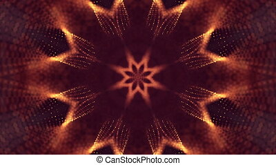 3d loop animation as science fiction background of glowing particles with depth of field and bokeh for vj loop. Particles form line and surface grid. V18 red gold