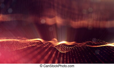 3d loop animation as science fiction background of glowing particles with depth of field and bokeh for vj loop. Particles form line and surface grid. V23 red gold with light rays