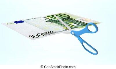 scissor cuting items - 3D loop animation of scissor cuting...