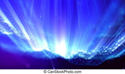 3d loop particles animation with depth of field, bokeh and light rays for interesting background or vj loop like microcosm or outer space. Seamless blue abstract background. V2