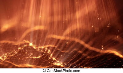 3d loop particles animation with depth of field, bokeh and light rays for interesting background or vj loop like microcosm or outer space. Seamless gold abstract background. V15