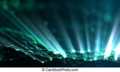 3d loop particles animation with depth of field, bokeh and light rays for interesting background or vj loop like microcosm or outer space. Seamless green abstract background. 1