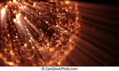 3d loop particles animation with depth of field, bokeh and light rays for interesting background or vj loop like microcosm or outer space. Seamless gold abstract background. V20