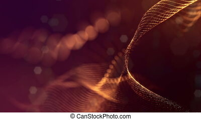 3d loop sci-fi animation with glow particles form rolling strings structures. Seamless footage as dark golden digital abstract background with particles, depth of field, bokeh. Motion graphics 5
