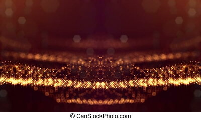 3d loop sci-fi animation with glow particles form rolling strings structures. Seamless footage as dark golden digital abstract background with particles, depth of field, bokeh. Motion graphics 32