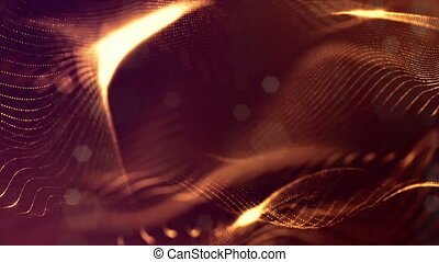 3d loop sci-fi animation with glow particles form rolling strings structures. Seamless footage as dark golden digital abstract background with particles, depth of field, bokeh. Motion graphics 6