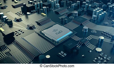 3D loopable animation Circut board. Technology background. Central Computer Processors CPU concept. Motherboard digital chip