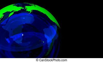 3D Looping Crystal Globe. Alpha Channel, loop