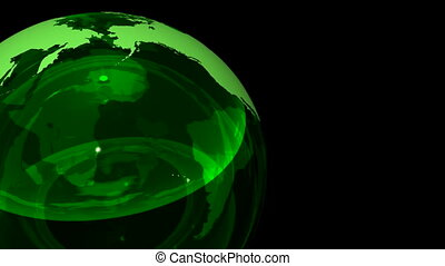 3D Looping Crystal Globe. Alpha Cha