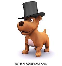 3d Lord pup - 3d render of a dog wearing a top hat