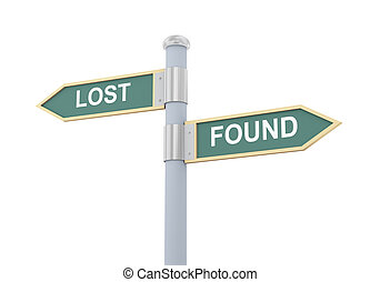 3d illustration of roadsign of words lost and found