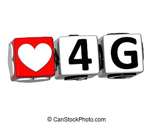 3D Love 4G Button Click Here Block Text