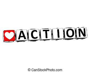 3D Love Action Button Click Here Block Text