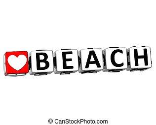 3D Love Beach Button Click Here Block Text