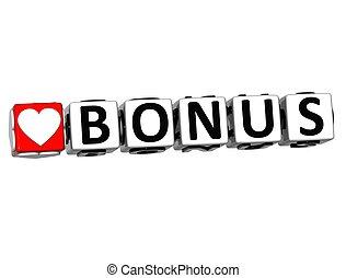 3D Love Bonus Button Click Here Block Text