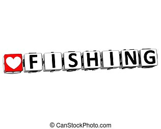 3D Love Fishing Button Click Here Block Text