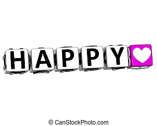 3D Love Happy Button Click Here Block Text