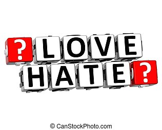 3D Love Hate Button Click Here Block Text
