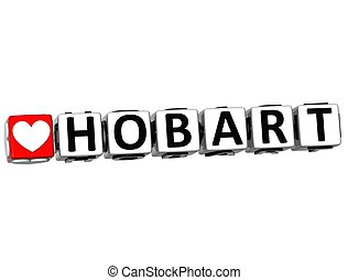 3D Love Hobart Button Click Here Block Text