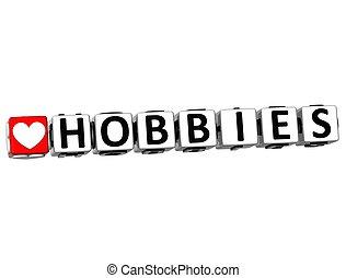3D Love Hobbies Button Click Here Block Text