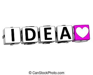 3D Love Idea Button Click Here Block Text