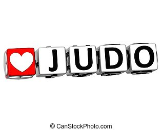 3D Love Judo Button Click Here Block Text over white background