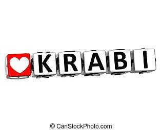 3D Love Krabi Button Click Here Block Text
