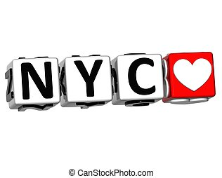 3D Love NYC Button Click Here Block Text