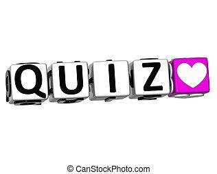 3D Love Quiz Button Click Here Block Text