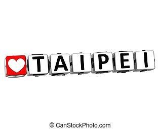 3D Love Taipei Button Click Here Block Text