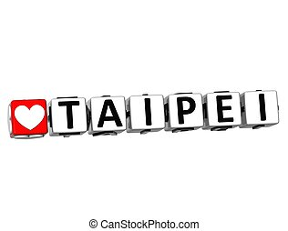 3D Love Taipei Button Click Here Block Text