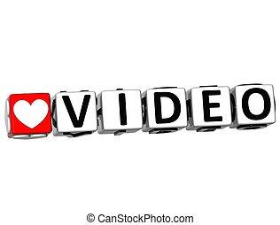 3D Love Video Button Click Here Block Text