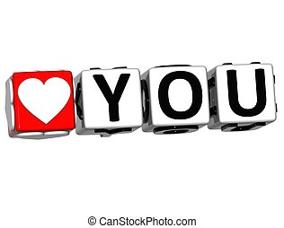 3D Love You Button Click Here Block Text