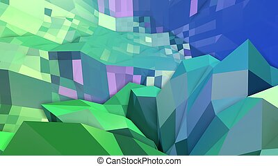 3d low poly abstract geometric background with modern gradient colors. 3d surface blue green gradient colors 5